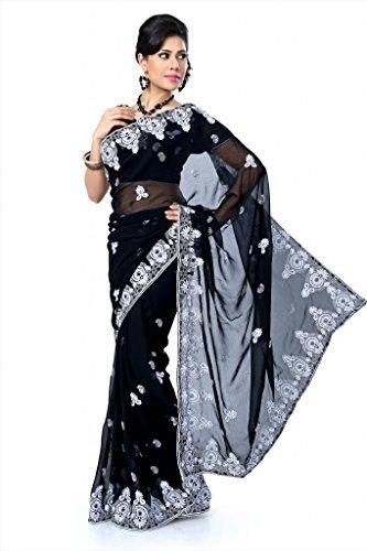 Designersareez Women's Chiffon Embroidered Saree With Unstitched Blouse Free Size Black