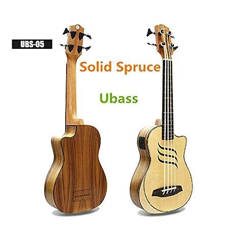 Ukelele eléctrico de pícea maciza sin trastes, guitarra Ubass de ...