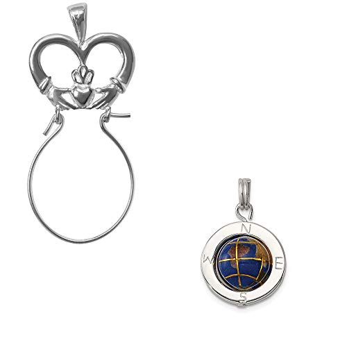 Enameled Globe Charm - Mireval Sterling Silver Enameled Globe Charm on a Claddagh Charm Holder