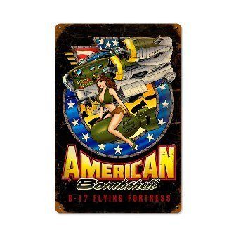 Past Time Signs SPI018 American Bombshell Allied Military Vintage Metal Sign from Past Time Signs