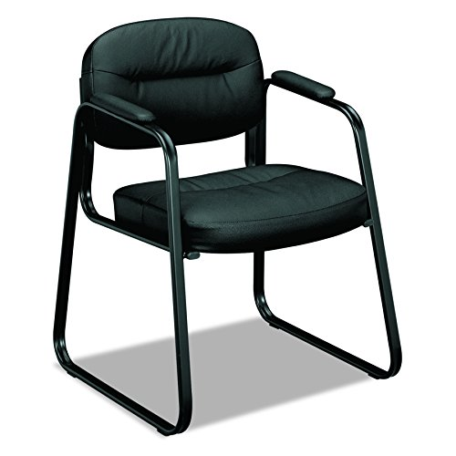 Basyx Leather Chair (basyx by HON Sled Base Guest Chair - Leather Chair with Fixed Arms, Black (HVL653))