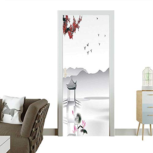 Homesonne Modern Art Door Sticker Japanese Asian Style Garden with Bird and Small Pavilion Over The Lake Environmentally Friendly decorationW35.4 x H78.7 INCH ()