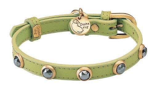 "7""-8.5"" neck,Hematite Pebbie Green Leather Dog Collar - Size: XXS 1/2"" wide"