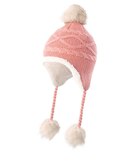 Home Prefer Toddler Girls Sherpa Earflaps Hat Kids Winter Hat Knitted Beanie Fuzzy Peruvian Hat Pink S