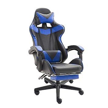 Ergonomique Chaise Gamer Fauteuil de Bureau Racing Sport avec Massage Support Repose-Pieds rembourr/és Bleu