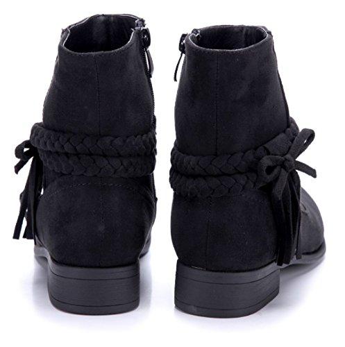 Schuhtempel24 Damen Schuhe Klassische Stiefeletten Stiefel Boots Blockabsatz Zierschleife 3 cm Schwarz