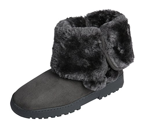 Beverly Rock Womens Faux Suede Fur Lined Pom Pom Boot Grey XL - Suede & Faux Fur Boot