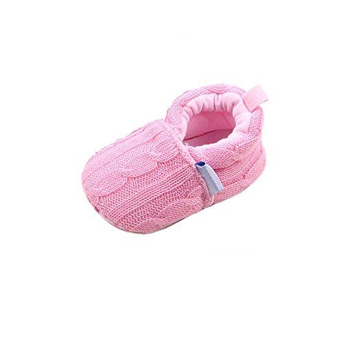 HUHU833 Kinder Mode Mädchen Schuhe Anti-Rutsch Soft Sole Kleinkind Schuhe Knit Säuglingsschuhe(0~18 M) Rosa