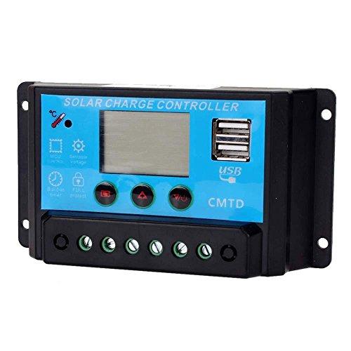 Solar Charge Controller, Binwo Solar Panel Battery Intelligent Regulator Overload Safe Protection with LCD Display, 10A 12V/24V