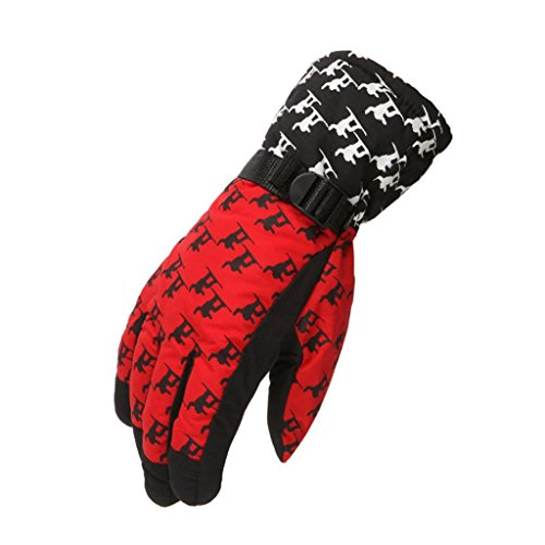 LTUI Adult winter waterproof weatherproof snow snow skiing warm non - slip sports gloves (red)