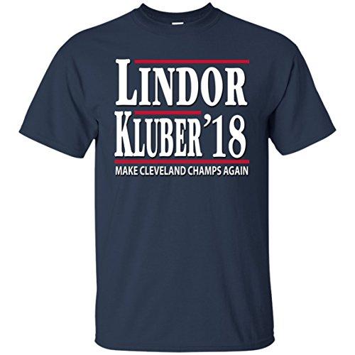 Radical Apparel Francisco Lindor Corey Kluber 2018 Cleveland T-Shirt, Navy, Medium