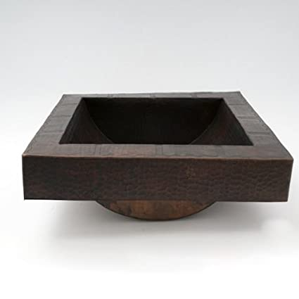 17x17x6 Square Apron Hammered Copper Bathroom Sink With Dark Finish