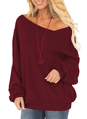 Off One Shoulder Sweatshirt for Women Long Sleeve Pullover Slouchy Baggy Tops (M, Maroon) ()
