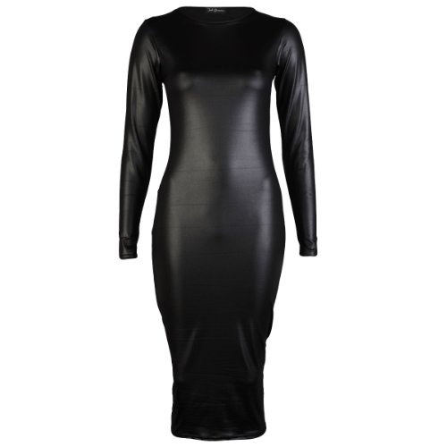 My1stWish Women's Long Sleeve Wet Look Shiny Bodycon Midi Dress