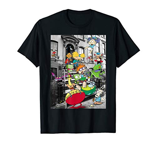 Nickelodeon Classic Nicktoons Hanging On Stoop T-Shirt (Cartoon T Shirt Men)