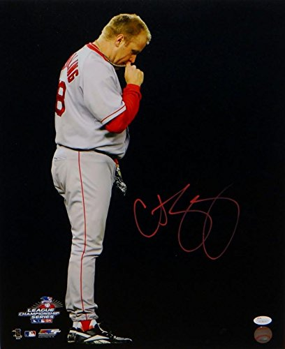 Curt Schilling Signed Red Boston Red Sox 16x20 Kissing Necklace Photo- JSA W Auth ()