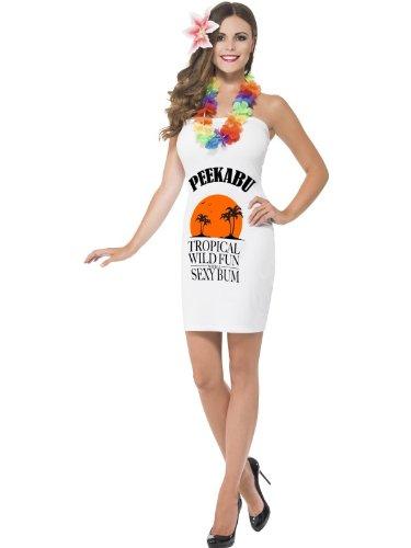 Smiffy's Women's Peekabu Caribbean Fun Costume Printed Dress Lei and Flower Hairpiece White -