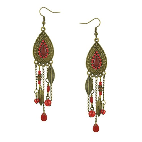 Usstore 1Pair Women's Bohemian Style Water Drop Inlaid Beads Fringed Leaf Ear Stud Earrings Jewelry (Red)