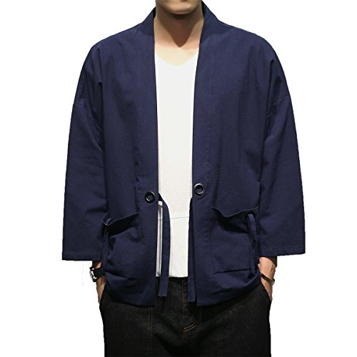 INVACHI Fashion Men's Cotton Blends Linen Cloak Open Front Cardigan Kimono Jackets Navy