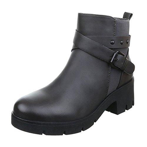 Ital-Design Damen Schuhe Used Optik Schlupfstiefel Reißverschluss Komfort Stiefeletten Stiefeletten Blockabsatz Grau