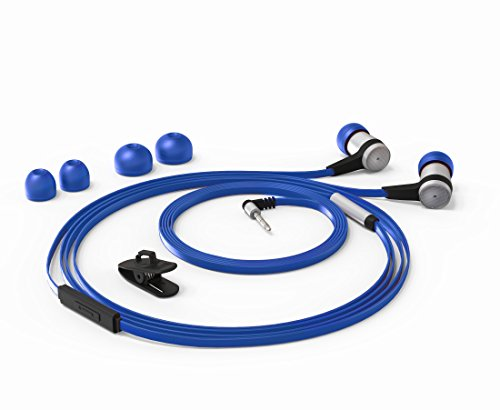 Cynnes In Ear Wired HiFi Bass Earbuds With Tangle Free Flat Cable Noise Isolating Stereo Earphones with Microphone for Android Samsung Mobiles Tablets MP3 Players iOS iPhones and more (Dark - Blue Buy Can Where I