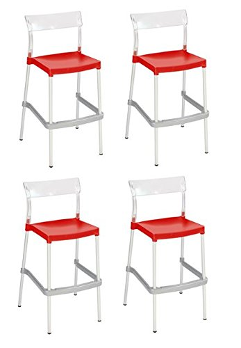 Tensai Madrid Bar Stool - Durable Plastic in Transparent with Red Seat - Set of 4
