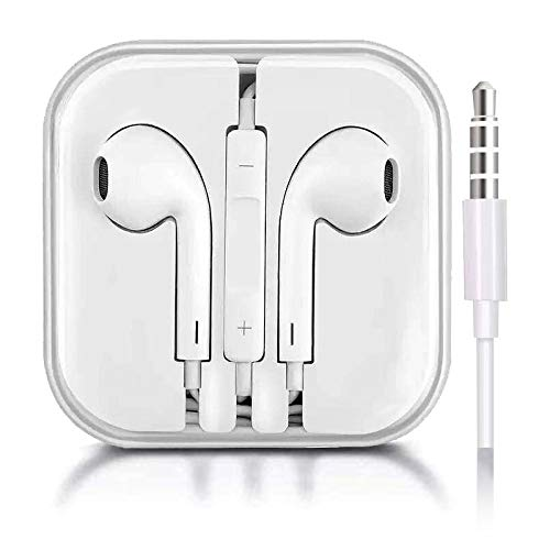 2-Pack, Headphones in-Ear Earphones, Wired Noise-Isolated White Headsets with Stereo Microphone and Controller, Earbuds Compatible with All 3.5mm Interface Devices.