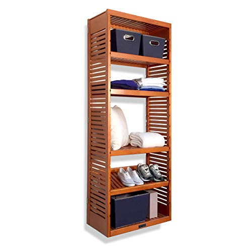 John Louis Home 16in. Deep Woodcrest Storage Tower with Adjustable Sheves - Caramel Finish ()
