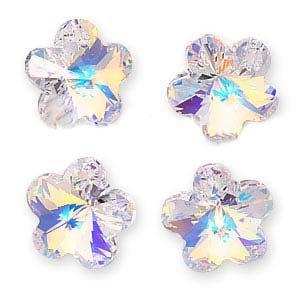 SWAROVSKI ELEMENTS Crystal Flower Pendant Beads #6744 14mm Crystal AB (4)