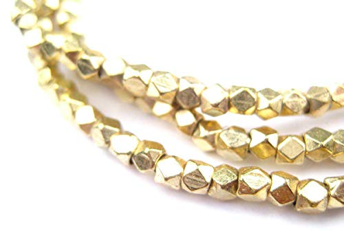 Cornerless Cube Beads - Full Strand of Faceted Ethnic Metal Spacers - The Bead Chest (3mm, Gold)