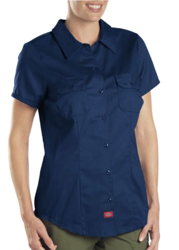 Dickies Women's Short-Sleeve Work Shirt, Dark navy, Large