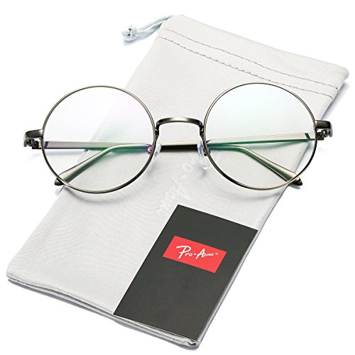 Pro Acme Retro Round Metal Frame Clear Lens Glasses Non-Prescription (Gunmetal Frame/Clear Lens)
