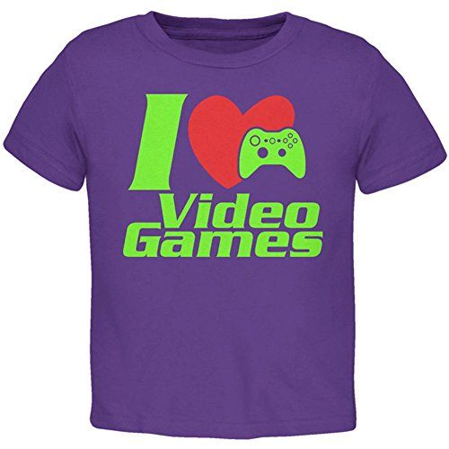 Price comparison product image Old Glory I Heart Video Games Gen 3 Toddler T Shirt Purple 2T