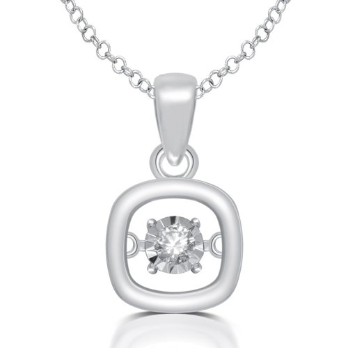 Dancing Diamonds Sterling Silver Glittering Square Round White Ladies Pendant with 18 inch Chain ()