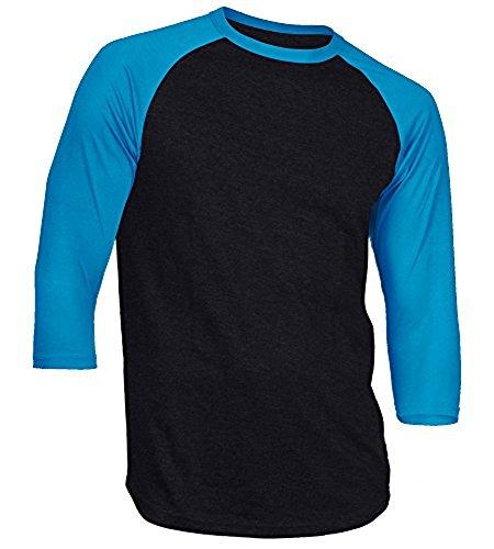 DREAM USA Men's Casual 3/4 Sleeve Baseball Tshirt Raglan Jersey Shirt Black/AquaBlue Medium