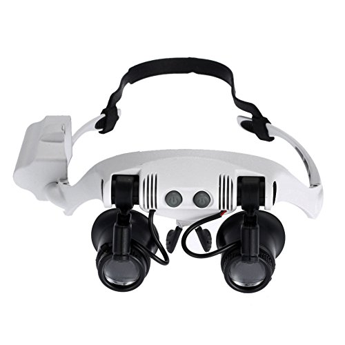 Your Supermart Head Wearing Magnifying 2LED LightDouble Eye Head-Worn Glasses Magnifier For Jewelry Appraisal Loupe LED Lighted Clock Repair Magnifie