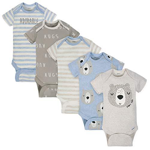 Gerber Baby Boys 3-Pack Organic Short-Sleeve Onesies Bodysuits, Bear hugs, Newborn