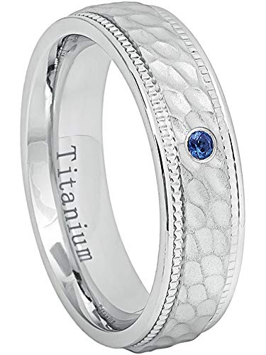 0.07ct Blue Sapphire Solitaire Titanium Ring - September Birthstone Ring - 6MM Comfort Fit White Dimpled Center with Milgrained Edge Titanium Wedding Band - ()
