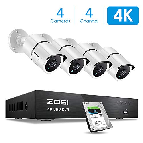 ZOSI 4K Ultra HD Security Cameras System, 4 Channel H.265+ 4K (3840x2160) Video Dvr with 2TB Hard Drive and 4 x 4K (8MP) Ip67 Bullet Weatherproof Surveillance Cameras, 100ft Night Vision, Motion Alert ()