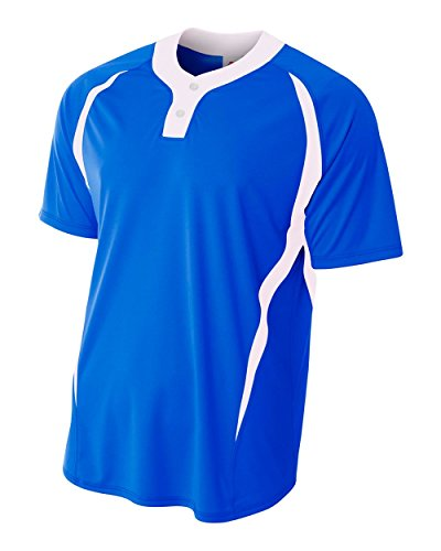 (A4 Sportswear Royal/White Youth Small (Blank) Henley Placket Top)