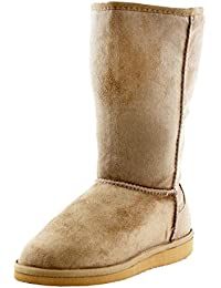 Women's Soong Comfort Faux Suede Fur Mid- Calf Flat Boot, NAT, 8 M US