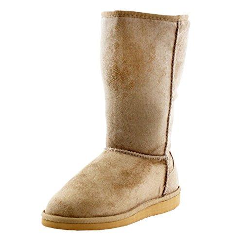 Soda Frauen Soong Comfort Faux Wildleder Fell Mitte-Kalb Flachen Stiefel, Nat, 8 M US Kamel NEU
