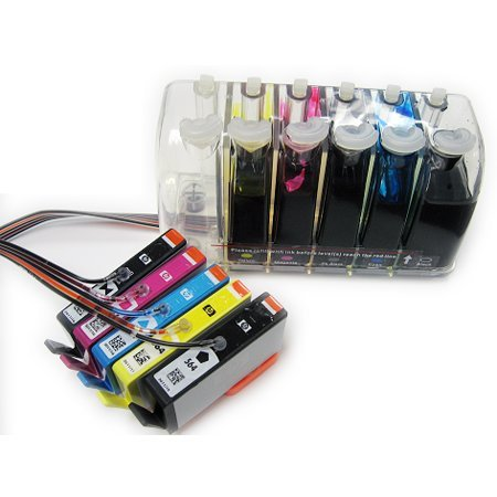 FantasyBuy Continuous Ink System for HP printers with new OEM cartridge and black color pigment ink based that are used in HP 564 cartridge such as Photosmart B8550/C6350/C6380/C6388/D5460/D7560