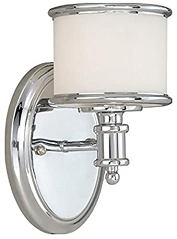 Vaxcel USA CRVLU001CH Carlisle 1 Light Transitional Wall Sconce Lighting Fixture in Chrome, Glass - Marble Chrome Wall