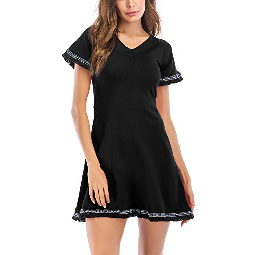 (Meland Women's Casual Solid-Colored V-Neck Short-Sleeve Wrap Dress Tassels Hem)
