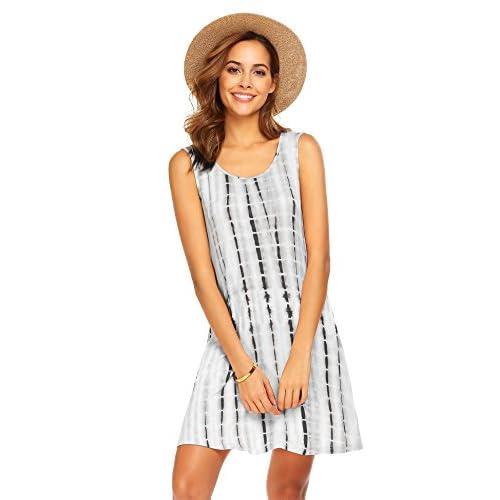 3dfd16adbf1c on sale FineFolk Women s Tie Dye Ombre Sleeveless Casual Loose T-Shirt Dress  Swing Tunic