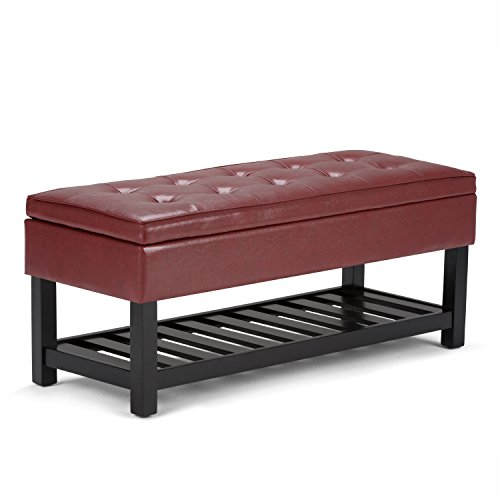 Simpli Home INT-AXCCOS-OTTBNCH-01 Cosmopolitan 44 inch Wide Traditional Ottoman Bench in Tanners Brown Faux Leather