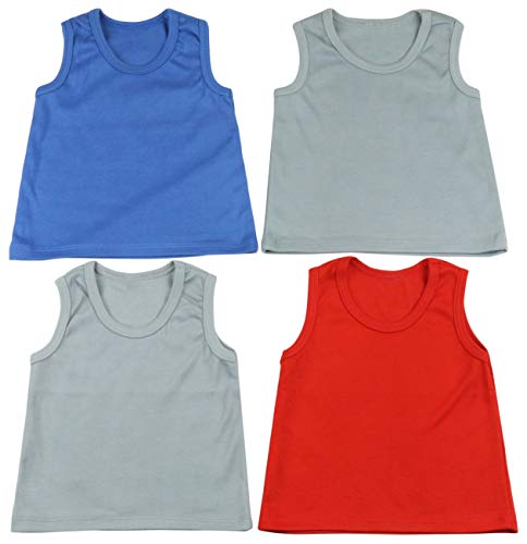 Double Hem - ToBeInStyle Boys' 4 Pack Double Needle Hem Tank Tops - Cool - Size 1