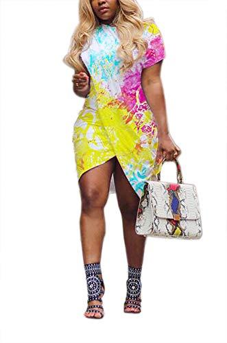 (LKOUS Women's Summer Casual Round Neck High Low Short Sleeve Club Party Loose T-Shirt Midi Dress Top Lemon Yellow)
