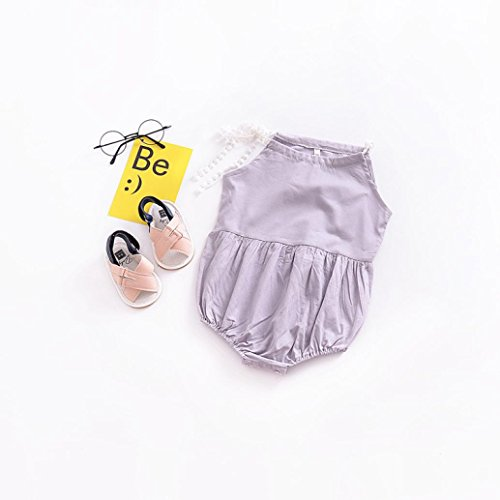 Dressffe Newborn Infant Baby Girls Bandage Solid Romper Playsuit Clothes Outfits (100)